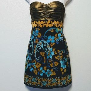 Free People | Gold Floral Velour Strapless Dress